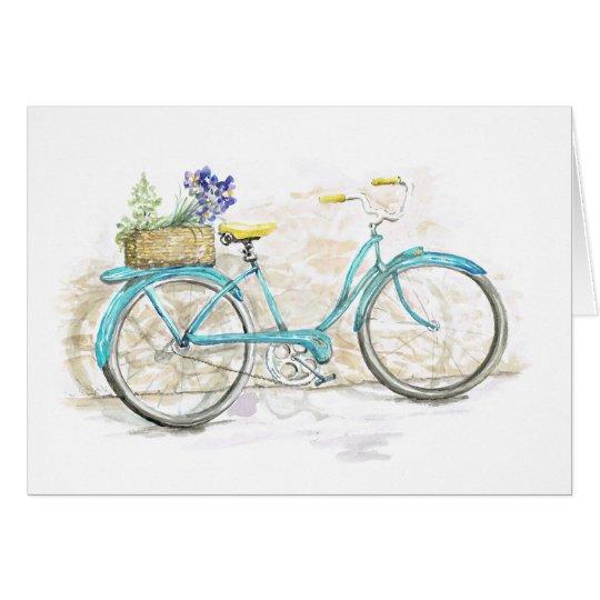 aqua aquarell fahrrad mit korb mitteilungskarte zazzle. Black Bedroom Furniture Sets. Home Design Ideas