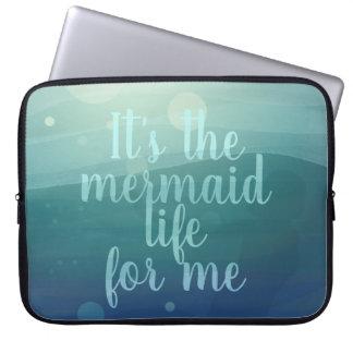 Aqua-Aquarell-Meerjungfrau-Zitat-Laptop-Hülse Laptopschutzhülle