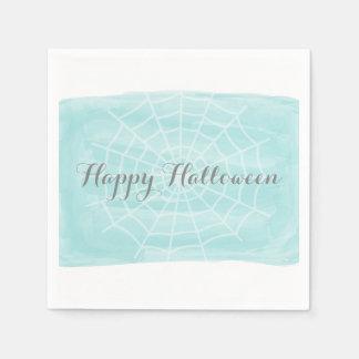 Aqua-Aquarell-Spinnen-Netz Halloween Serviette