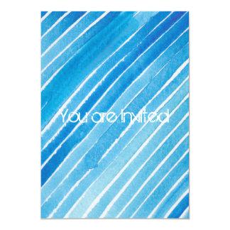 Aqua-Aquarell Stripes Babyparty Personalisierte Einladungskarte