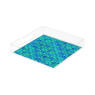 Aqua-Blau-Skalen Acryl Tablett