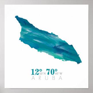 Aqua-blaue Aquarell-Aruba-Karte mit Koordinaten Poster
