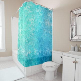 Aqua-blaue glänzende duschvorhang