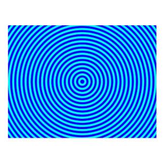 Aqua-blaue konzentrische Kreise Postkarten
