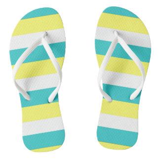 Aqua-blaue, zitronengelbe und weiße Streifen Flip Flops