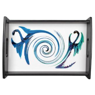 Aqua-blauer Drache-Strudel Tablett