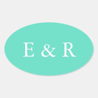 Aqua-blauer Kasten mit weißem Hochzeits-Detail Ovaler Aufkleber