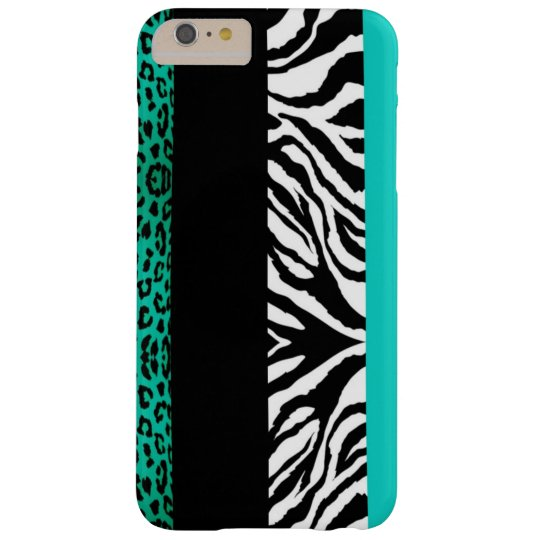 Aqua-blauer Leopard und Zebra-kundenspezifischer Barely There iPhone 6 Plus Hülle