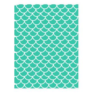Aqua-blaues Fischskalamuster Postkarten