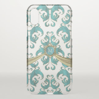 Aqua-blaues Grün-und weißesVintages iPhone X Hülle