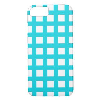 Aqua blaues iPhone 7 Hüllen - Gitter-Karo