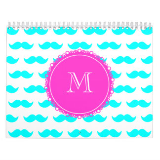 Aqua-blaues Schnurrbart-Muster, Pink-Monogramm Abreißkalender