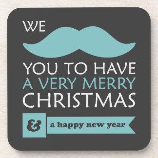 Aqua-blaues Schnurrbart-Weihnachten Getränkeuntersetzer