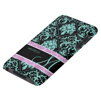Aqua blaues und schwarzes Damasked mit Monogramm iPod Case-Mate Case