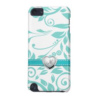 Aqua-blaues und weißes Damast-Muster mit Monogramm iPod Touch 5G Hülle