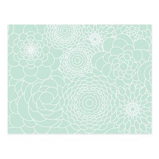 Aqua-Blumenentwurfs-moderne abstrakte Blumen Postkarte