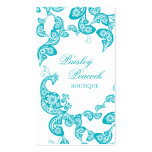 Aqua-Blumenpaisley-Pfau-stilvolles schickes Visitenkarten