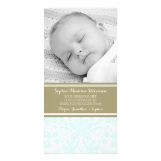Aqua-Damast danken Ihnen Baby-Duschen-Foto-Karten Bildkarten