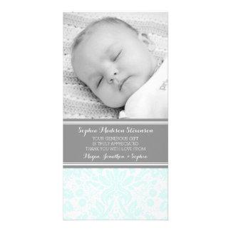 Aqua-Damast danken Ihnen Baby-Duschen-Foto-Karten Photo Karten