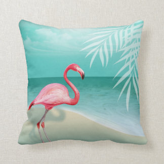 Aqua der Flamingo-Strand-Hochzeit   Kissen