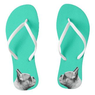 Aqua der Mops-Liebe-| gefärbt Flip Flops