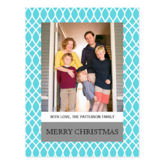 Aqua-elegante Gitter-Feiertags-Foto-Postkarte Postkarten