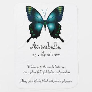 Aqua-eleganter wunderlicher Schmetterling Kinderwagendecke