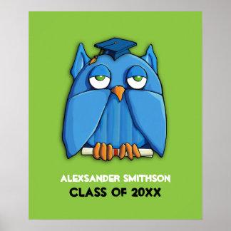 Aqua-Eulen-Absolventgrün Abschluss-Plakat Poster