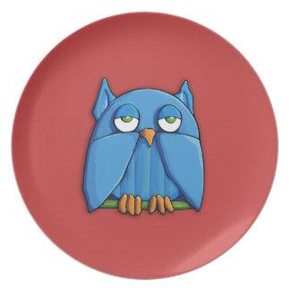 Aqua-Eulenrot Platte Teller