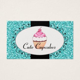Aqua-Glitter-niedliche Kuchen-Bäckerei Visitenkarte