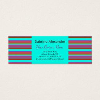 Aqua-Glühen Retro Rasberry Stripes Mini Visitenkarte