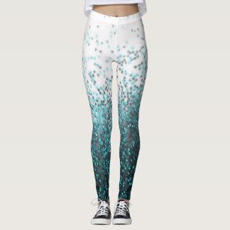 Aqua-grüne aquamarine silberne GlitterSequins Leggings