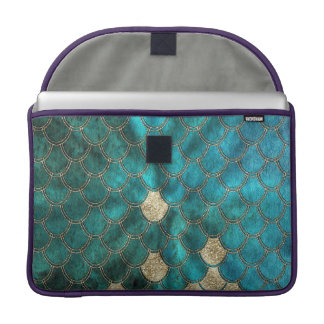 Aqua grünes Mermaidscales mit GoldGlitter MacBook Pro Sleeve
