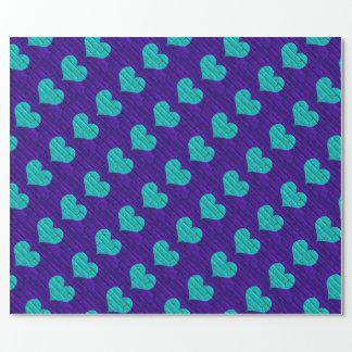 Aqua-Hearted lila Ziegelstein-Verpackungs-Papier Geschenkpapier