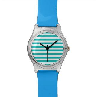 Aqua-horizontale Streifen Armbanduhr