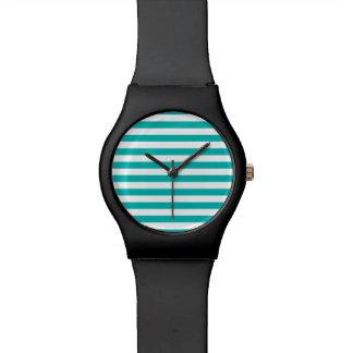 Aqua-horizontale Streifen Uhr