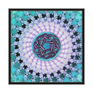 Aqua-keltische Knoten-Fraktalmandala-Leinwand Gespannte Galeriedrucke