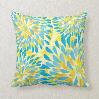 Aqua-Limone und gelbe moderne Blumen-Blumenkissen Kissen