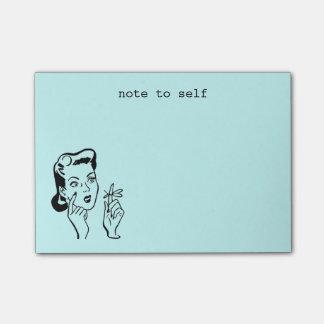 Aqua-lustige Retro Hausfrau-Anmerkung zum Selbst Post-it Klebezettel