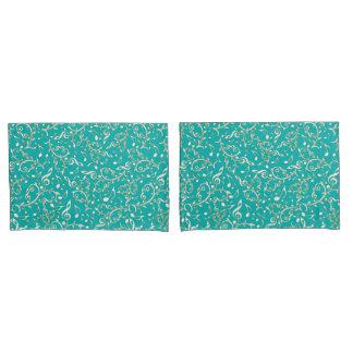 Aqua mit weißes GoldMusiknoten-Kissenbezügen Kissenbezug