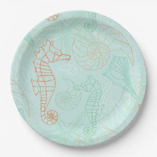 Aqua-Ozean-Seepferd-Motiv-Papierplatte Pappteller