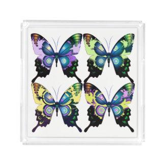 Aqua, Rosa und Gelb - elegante Schmetterlinge Acryl Tablett