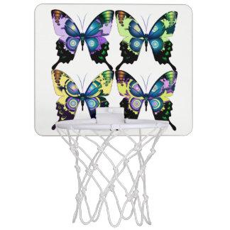 Aqua, Rosa und Gelb - elegante Schmetterlinge Mini Basketball Ring