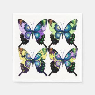 Aqua, Rosa und Gelb - elegante Schmetterlinge Papierserviette