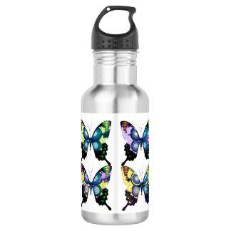 Aqua, Rosa und Gelb - elegante Schmetterlinge Trinkflasche