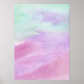 Aqua-Roseabstraktes Watercolor-Acryl-Plakat