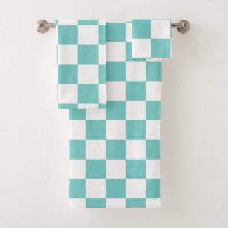 Aqua-Schachbrett Badhandtuch Set