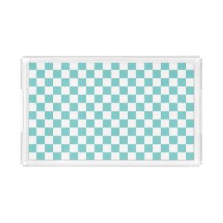 Aqua-Schachbrett-Muster Acryl Tablett