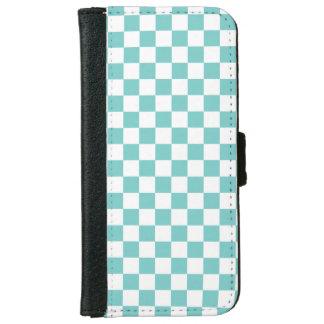 Aqua-Schachbrett-Muster Geldbeutel Hülle Für Das iPhone 6/6s