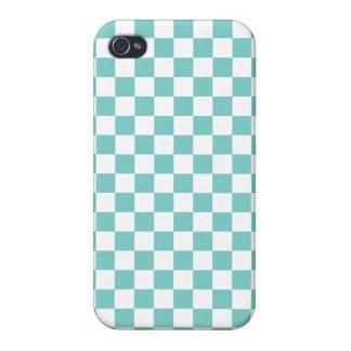 Aqua-Schachbrett-Muster iPhone 4 Etui